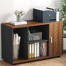 Load image into Gallery viewer, Shop for file cabinet little tree 39 large storage printer stand mobile filing office cabinet with wheels door and open shelves for home office dark walnut