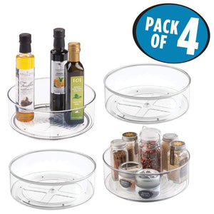 Best seller  mdesign plastic lazy susan spinning food storage turntable for cabinet pantry refrigerator countertop spinning organizer for spices condiments baking supplies 9 round 4 pack clear