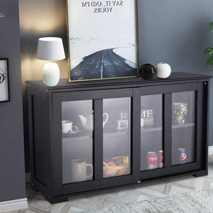 Budget waterjoy kitchen storage sideboard stackable buffet storage cabinet with sliding door tempered glass panels for home kitchen antique black