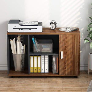 Top rated file cabinet little tree 39 large storage printer stand mobile filing office cabinet with wheels door and open shelves for home office dark walnut