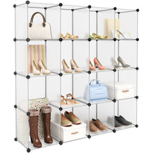 Load image into Gallery viewer, Products langria 16 cube modular clothes shelving storage organizer diy plastic shoe rack cabinet translucent white