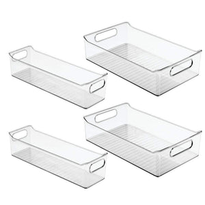 Save on mdesign plastic kitchen pantry cabinet refrigerator or freezer food storage bins with handles organizers for fruit yogurt drinks snacks pasta condiments set of 4 clear