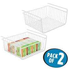 Load image into Gallery viewer, Storage mdesign household metal under shelf hanging storage bin basket with open front for organizing kitchen cabinets cupboards pantries shelves large 2 pack white