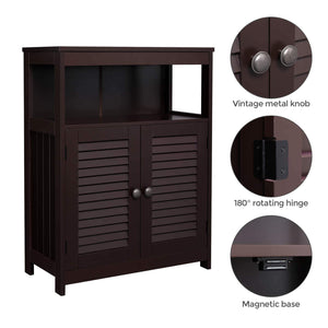 Best vasagle bathroom storage floor cabinet free standing cabinet with double shutter door and adjustable shelf brown ubbc40br