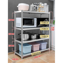 Load image into Gallery viewer, Featured kitchen shelf stainless steel microwave oven rack multi function kitchen cabinet and cabinet rack storage rack 6 sizes kitchen storage racks size 10040118cm