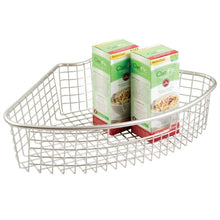 Load image into Gallery viewer, Shop here mdesign farmhouse metal kitchen cabinet lazy susan storage organizer basket with front handle large pie shaped 1 4 wedge 4 4 deep container 2 pack satin