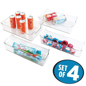 Shop for mdesign plastic kitchen pantry cabinet refrigerator or freezer food storage bins with handles organizers for fruit yogurt drinks snacks pasta condiments set of 4 clear