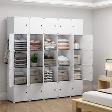 Load image into Gallery viewer, Shop here yozo modular closet portable wardrobe for teens kids chest drawer ployresin clothes storage organizer cube shelving unit multifunction toy cabinet bookshelf diy furniture white 25 cubes