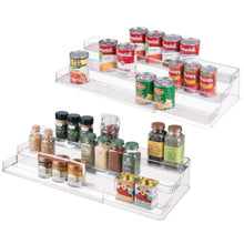 Load image into Gallery viewer, Discover the mdesign large plastic adjustable expandable kitchen cabinet pantry shelf organizer spice rack with 3 tiered levels of storage for spice bottles jars seasonings baking supplies 2 pack clear