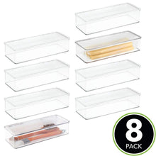 Load image into Gallery viewer, Best mdesign stackable kitchen pantry cabinet refrigerator food storage container bin attached lid organizer for packets snacks produce pasta bpa free food safe 8 pack clear
