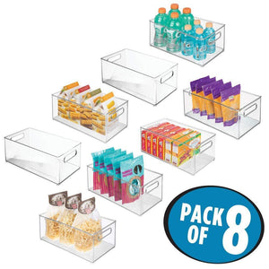 Discover the mdesign deep plastic kitchen storage organizer container bin with handles for pantry cabinets shelves refrigerator freezer bpa free 14 5 long 8 pack clear