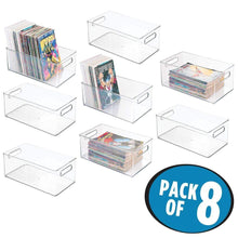 Load image into Gallery viewer, Cheap mdesign plastic home storage organizer container bin with handles for closets cabinets shelves hold dvds video games head sets controllers comics movies 14 5 long 8 pack clear
