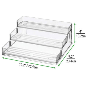Selection mdesign plastic spice and food kitchen cabinet pantry shelf organizer 3 tier storage modern compact caddy rack holds spices herb bottles jars for shelves cupboards refrigerator clear