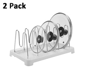 Amazon best 2 pack adjustable pot lid holder plate rack pan and pot organizer for kitchen cabinet sus304 stainless steel rust proof