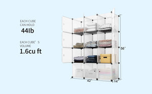 On amazon kousi portable storage cube cube organizer cube storage shelves cube shelf room organizer clothes storage cubby shelving bookshelf toy organizer cabinet transparent white 12 cubes