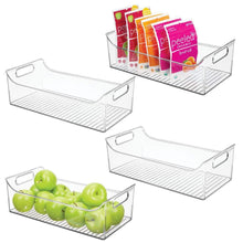 Load image into Gallery viewer, Budget mdesign wide plastic kitchen pantry cabinet refrigerator or freezer food storage bin with handles organizer for fruit yogurt snacks pasta bpa free 16 long 4 pack clear