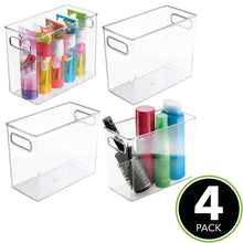Load image into Gallery viewer, Discover the best mdesign slim plastic storage container bin with handles bathroom cabinet organizer for toiletries makeup shampoo conditioner face scrubbers loofahs bath salts 5 wide 4 pack clear