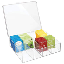 Load image into Gallery viewer, Amazon best mdesign tea storage organizer box 8 divided sections easy view hinged lid use in kitchen pantry and cabinets holder for tea bags packets small items and accessories bpa free 2 pack clear
