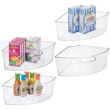 Load image into Gallery viewer, Shop here mdesign kitchen cabinet plastic lazy susan storage organizer bins with front handle large pie shaped 1 4 wedge 6 deep container food safe bpa free 4 pack clear