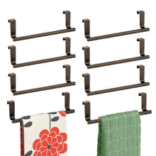 Load image into Gallery viewer, Order now mdesign decorative metal kitchen over cabinet towel bar hang on inside or outside of doors storage and display rack for hand dish and tea towels 9 wide 8 pack bronze