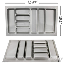 Load image into Gallery viewer, Amazon best 8 compartments cutlery tray insert utensil drawer divider organiser 900mm width cabinet abs plastic gray adjustable