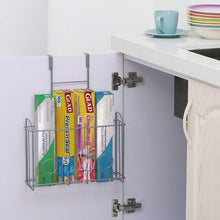 Load image into Gallery viewer, Discover the best nex over the cabinet door organizer cabinet storage basket for cutting board aluminum foil cleaning supplies silver