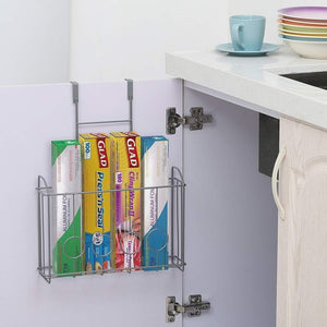 Discover the best nex over the cabinet door organizer cabinet storage basket for cutting board aluminum foil cleaning supplies silver