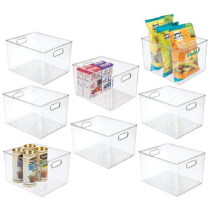 New mdesign plastic storage organizer container bins holders with handles for kitchen pantry cabinet fridge freezer large for organizing snacks produce vegetables pasta food 8 pack clear