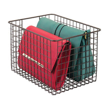 Load image into Gallery viewer, Try mdesign large farmhouse deco metal wire storage organizer basket bin with handles for organizing closets shelves and cabinets in bedrooms bathrooms entryways hallways 8 high 4 pack bronze