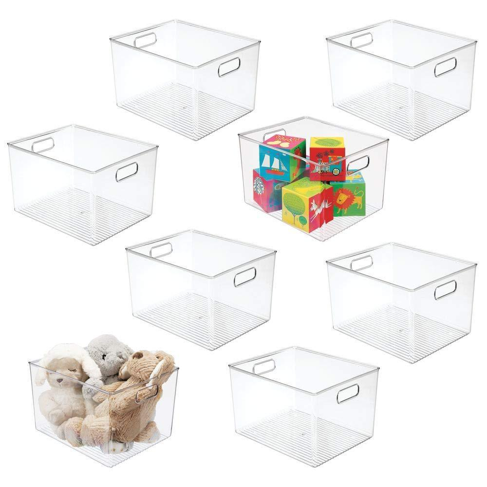 Selection mdesign deep plastic home storage organizer bin for cube furniture shelving in office entryway closet cabinet bedroom laundry room nursery kids toy room 12 x 10 x 8 8 pack clear