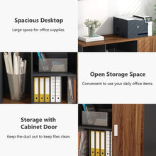 Load image into Gallery viewer, Storage organizer file cabinet little tree 39 large storage printer stand mobile filing office cabinet with wheels door and open shelves for home office dark walnut