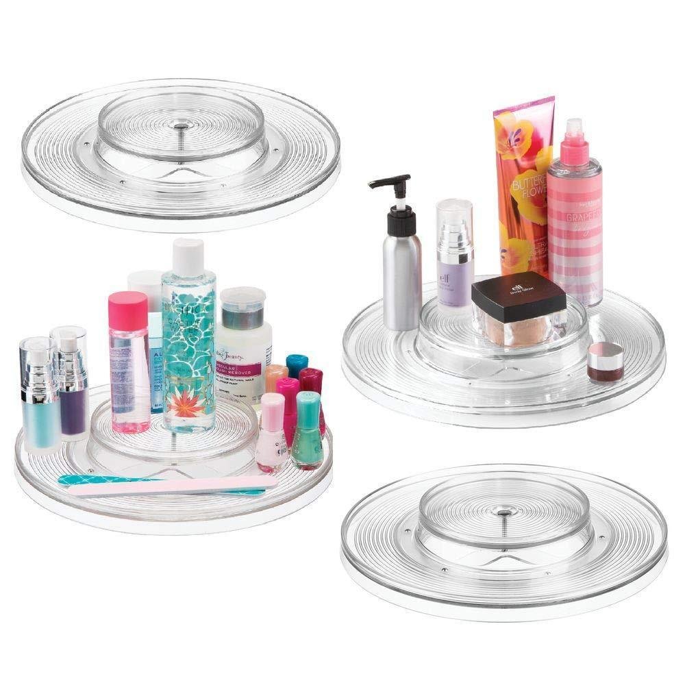 mDesign Spinning 2-Tier Lazy Susan Turntable Storage Tray - Rotating Organizer for Bathroom Vanity Counter Tops, Dressing Tables, Makeup Stations, Dressers - 11.5