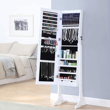 Load image into Gallery viewer, Buy gissar jewelry organizer full length mirror jewelry cabinet standing wall mounted jewelry armoire storage with lights lockable white