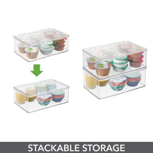 Load image into Gallery viewer, Discover the mdesign stackable kitchen pantry cabinet or refrigerator storage bin with attached hinged lid compact storage organizer for coffee tea and food packets snacks bpa free pack of 2 clear