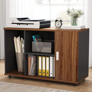 Top file cabinet little tree 39 large storage printer stand mobile filing office cabinet with wheels door and open shelves for home office dark walnut
