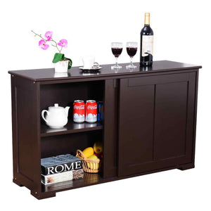 Heavy duty waterjoy kitchen storage sideboard stackable buffet storage cabinet with sliding door panels for home kitchen antique brown