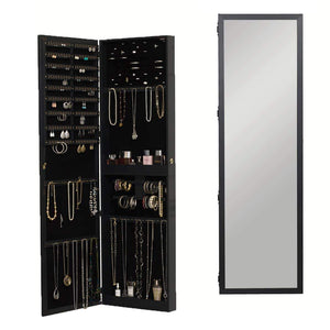 Save on plaza astoria pa66bk wall mounted over the door super sized jewelry armoire storage cabinet with vanity full length dressing mirror black