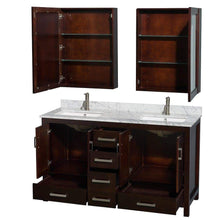 Load image into Gallery viewer, Online shopping wyndham collection sheffield 60 inch double bathroom vanity in espresso white carrera marble countertop undermount square sinks and medicine cabinets