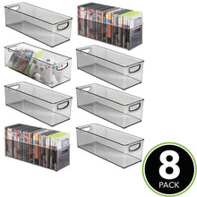 Load image into Gallery viewer, Top rated mdesign plastic stackable household storage organizer container bin with handles for media consoles closets cabinets holds dvds video games gaming accessories head sets 8 pack smoke gray