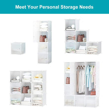 Load image into Gallery viewer, Get honey home modular storage cube closet organizers portable plastic diy wardrobes cabinet shelving with easy closed doors for bedroom office kitchen garage 12 cubes white