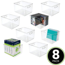 Load image into Gallery viewer, Kitchen mdesign plastic storage container bin with carrying handles for home office filing cabinets shelves organizer for school supplies pens pencils notepads staplers envelopes 8 pack clear