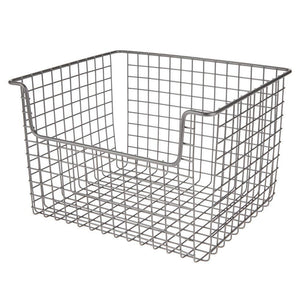 Save mdesign metal kitchen pantry food storage organizer basket farmhouse grid design with open front for cabinets cupboards shelves holds potatoes onions fruit 12 wide 2 pack graphite gray