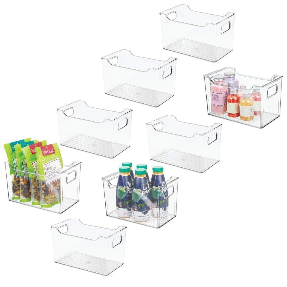 Heavy duty mdesign plastic kitchen pantry cabinet refrigerator or freezer food storage bin with handles organizer for fruit yogurt snacks pasta bpa free 10 long 8 pack clear