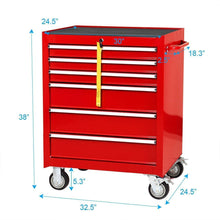 Load image into Gallery viewer, Cheap goplus 30 x 24 5 tool box cart portable 6 drawer rolling storage cabinet multi purpose tool chest steel garage toolbox organizer with wheels and keyed locking system classic red