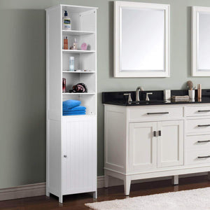 Latest 72 tall cabinet waterjoy standing tall storage cabinet wooden white bathroom cupboard with door and 5 adjustable shelves elegant and space saving