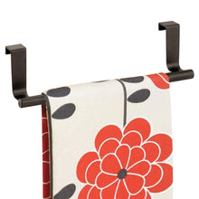 Load image into Gallery viewer, Related mdesign decorative metal kitchen over cabinet towel bar hang on inside or outside of doors storage and display rack for hand dish and tea towels 9 wide 8 pack bronze