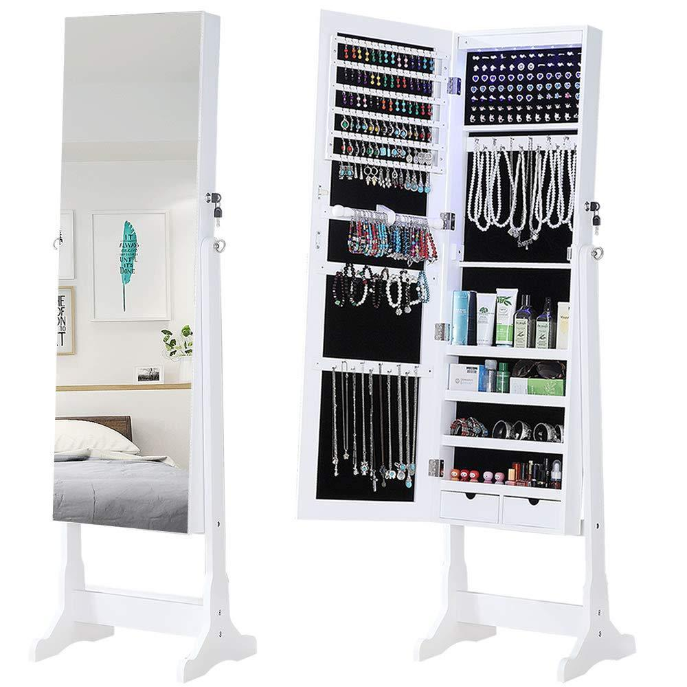 Best gissar jewelry organizer full length mirror jewelry cabinet standing wall mounted jewelry armoire storage with lights lockable white
