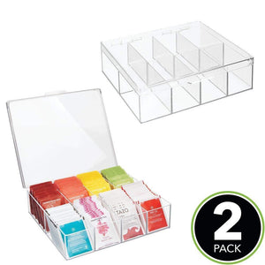 Budget friendly mdesign tea storage organizer box 8 divided sections easy view hinged lid use in kitchen pantry and cabinets holder for tea bags packets small items and accessories bpa free 2 pack clear