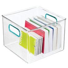 Load image into Gallery viewer, Discover the mdesign plastic home office storage organizer container with handles for cabinets drawers desks workspace bpa free for pens pencils highlighters notebooks 8 wide 8 pack clear blue
