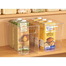 Load image into Gallery viewer, Shop here mdesign plastic food storage container bin with handles for kitchen pantry cabinet fridge freezer narrow for snacks produce vegetables pasta bpa free food safe 12 pack clear
